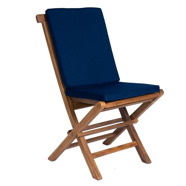 Ernst Folding Teak Patio Dining Chair with Cushion by Breakwater Bay