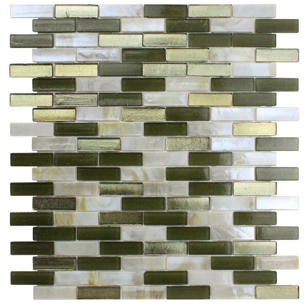 Opal 0.63 x 1.88 Glass Mosaic Tile in Golden Olive by Kellani