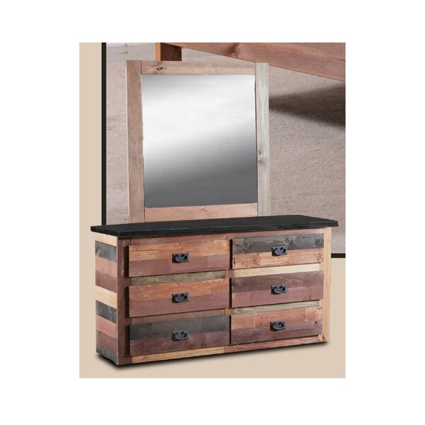 Chiasson 6 Drawer Double Dresser with Mirror by Harriet Bee