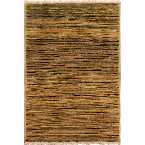 One-of-a-Kind Roeder Hand-Knotted Wool Tan/Green Area Rug by Bloomsbury Market