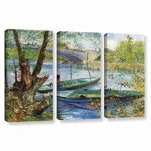 Fishing In Spring, The Pont De Clichy (Asnieres) by Vincent Van Gogh 3 Piece Painting Print on Wrapped Canvas Set by ArtWall