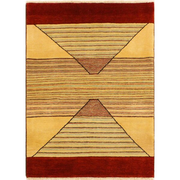One-of-a-Kind Abramowitz Hand-Knotted Wool Tan/Red Area Rug by Isabelline
