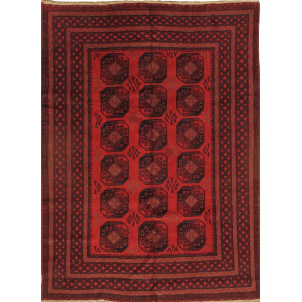 Yamoud Hand Knotted Wool Red Area Rug