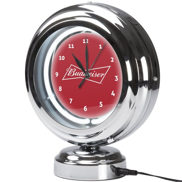 Budweiser Label Neon Table Clock by Trademark Global