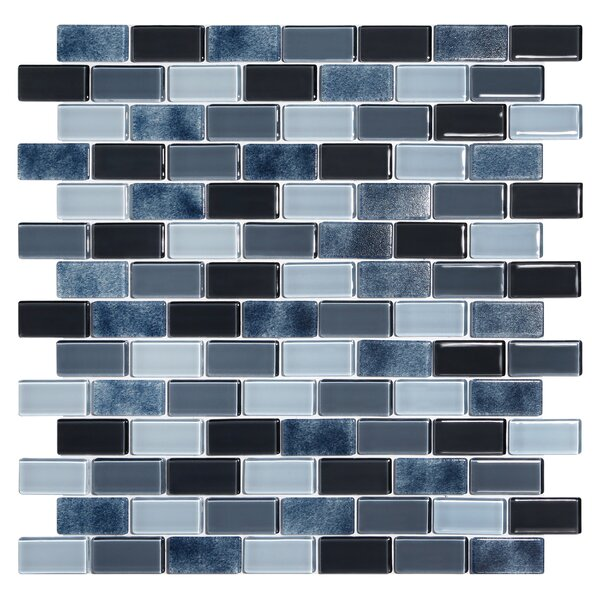 Tides 0.75 x 1.63 Glass Mosaic Tile in Shark Skin by Kellani