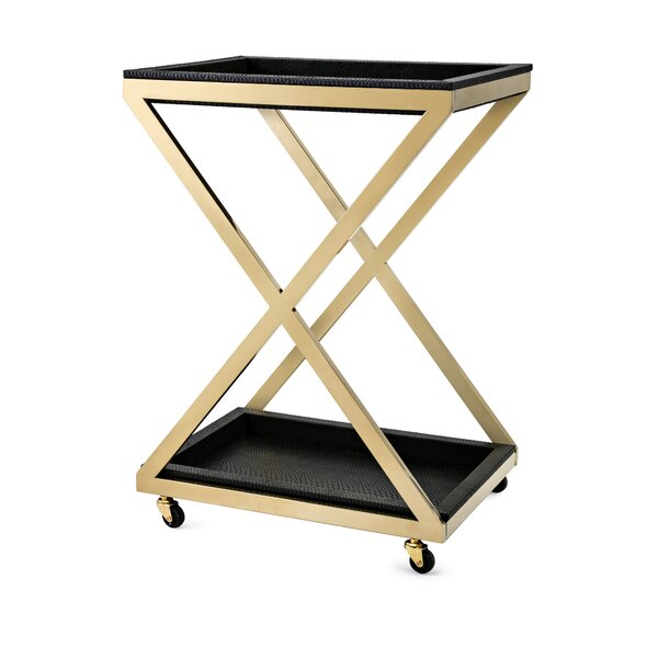 Yaretzi Stainless Steel Bar Cart by Everly Quinn