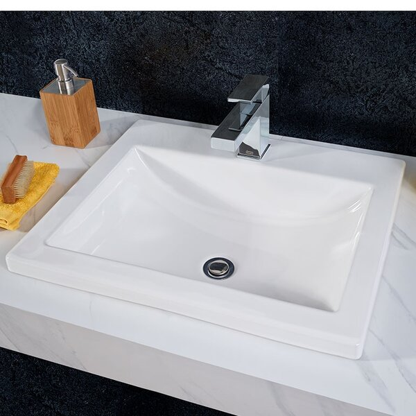 Studio Vitreous China Rectangular Drop-In Bathroom Sink with Overflow by American Standard