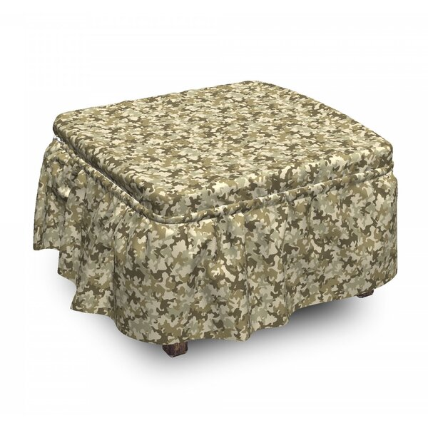 Camouflage Faded Classic 2 Piece Box Cushion Ottoman Slipcover Set By East Urban Home