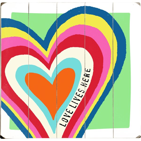 Love Lives Here Drawing Print Multi-Piece Image on Wood by Artehouse LLC