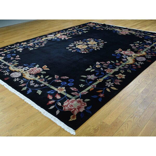 One-of-a-Kind Boehmer Art Deco Handwoven Black Wool Area Rug by Isabelline