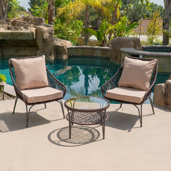 Galey Outdoor 3 Piece Conversation Set with Cushions by Bungalow Rose