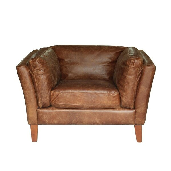 Rumi Leather Club Chair by 17 Stories