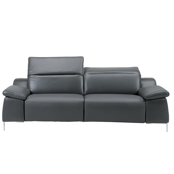 Dionne Leather Reclining Sofa by Orren Ellis