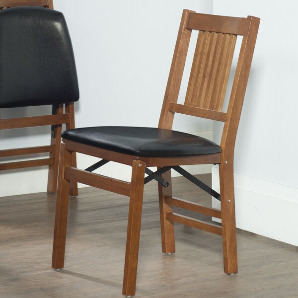 Berkshire Wood Folding Chair with Vinyl Seat (Set of 2) by Red Barrel Studio
