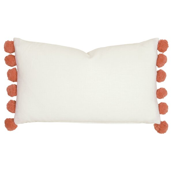 Santori Splash Pom-Pom Ball Trim Lumbar Pillow by Eastern Accents
