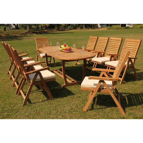 Lessing 11 Piece Teak Dining Set by Rosecliff Heights