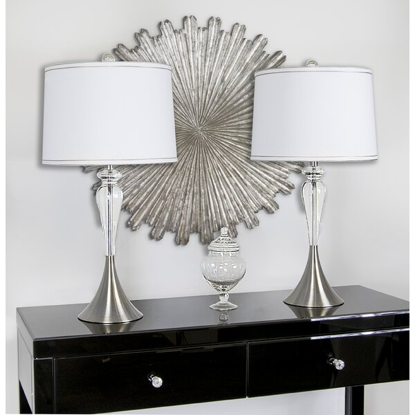 Morrisania Crystal Satin Trimmed 28 Table Lamp (Set of 2) by Ebern Designs