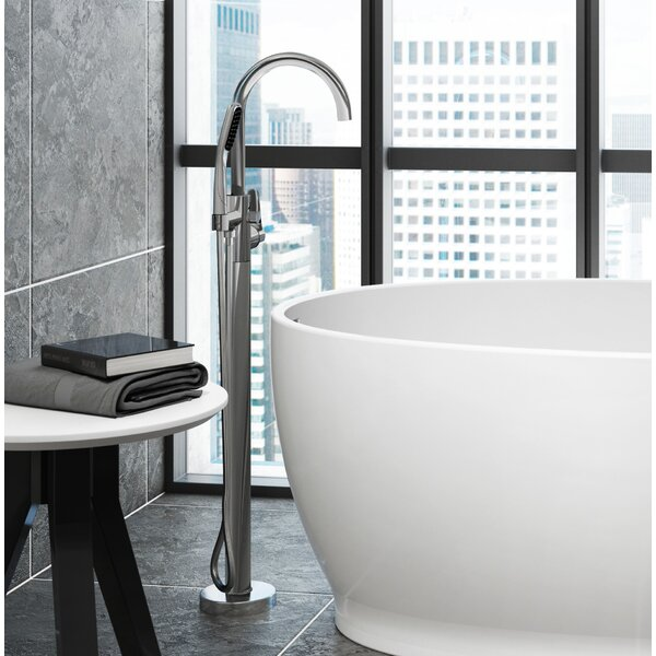 Round Double Handle Floor Mounted Freestanding Tub Filler With Hand Shower By JACUZZI®
