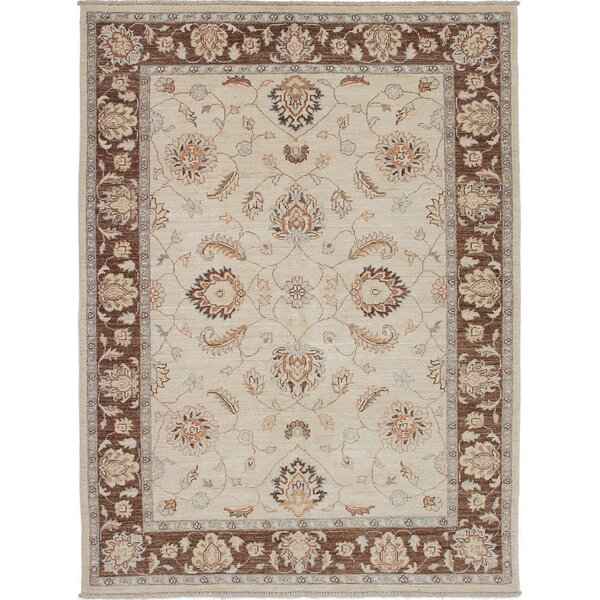 One-of-a-Kind Dominga Hand-Knotted Wool Cream Area Rug by Isabelline