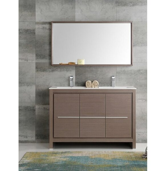 Trieste 48 Allier Double Modern Sink Bathroom Vanity Set with Mirror by Fresca