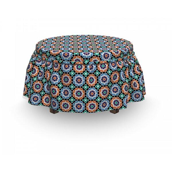 Moroccan Mosaic Circular Design 2 Piece Box Cushion Ottoman Slipcover Set By East Urban Home