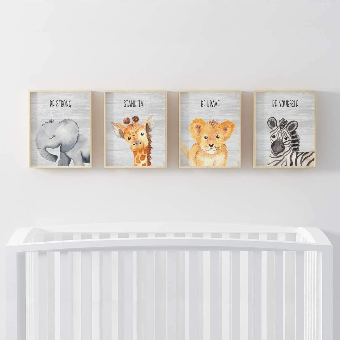 Harriet Bee Deeley Baby Animals Elephant Giraffe Lion Zebra 4 Piece Set Paper Print Reviews Wayfair