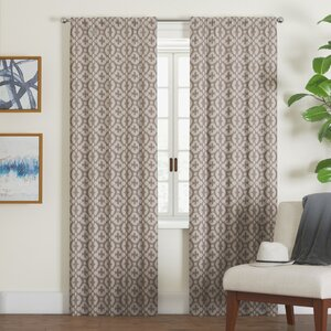 Dorene Thermaweave Geometric Room Darkening Rod Pocket Single Curtain Panel