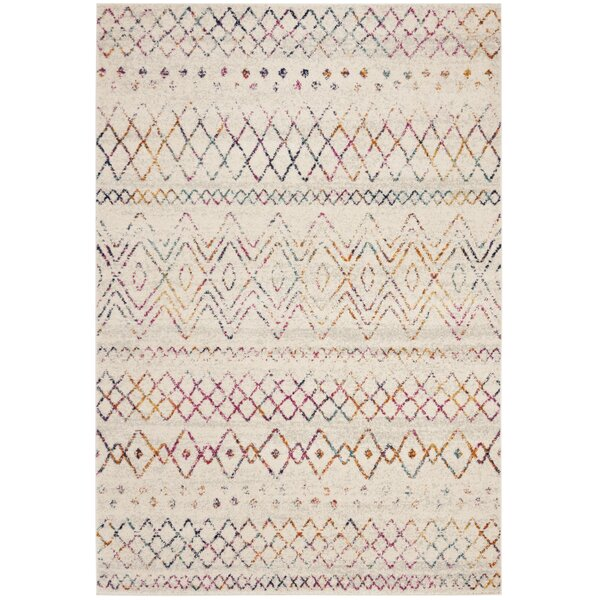 Grieve Power Loom Ivory/Fuchsia Indoor Area Rug by Bungalow Rose