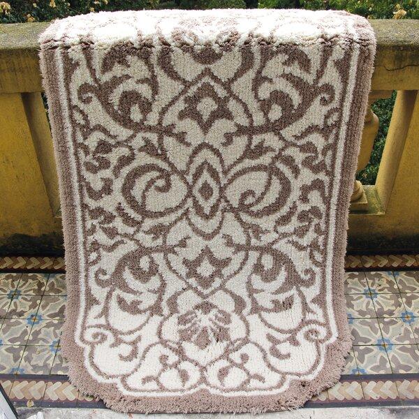Ormside Damask Rectangle Egyptian-Quality Cotton Non-Slip Floral Bath Rug