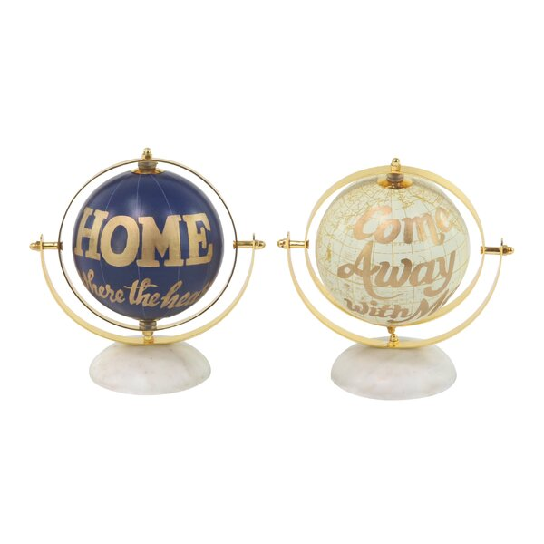 Modern 2 Piece Globe with Dome-Shaped Base (Set of 2) by Ebern Designs