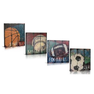 4 Piece For the Love of The Game Gallery Wrapped Canvas Art Set by Green Frog