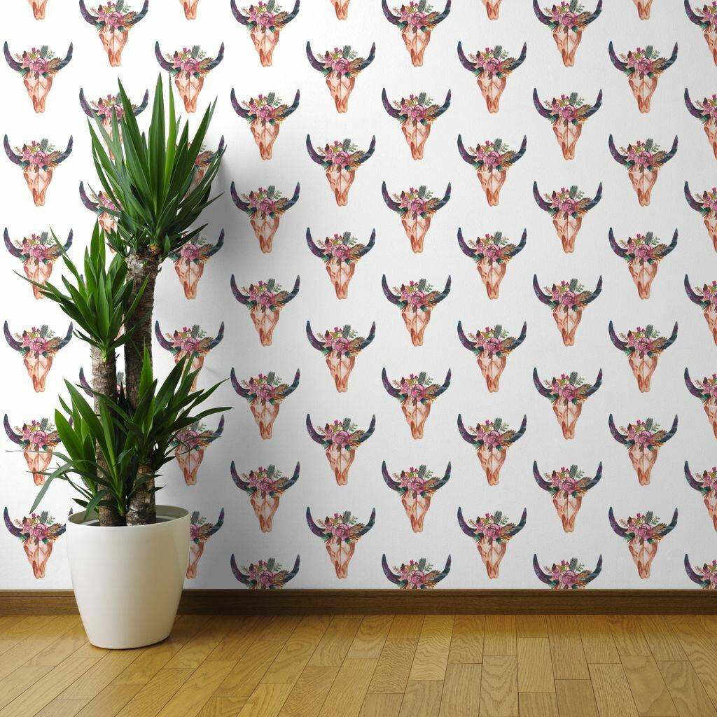 Bungalow Rose Foust Boho Floral Longhorn 27 L X 24 W Wallpaper