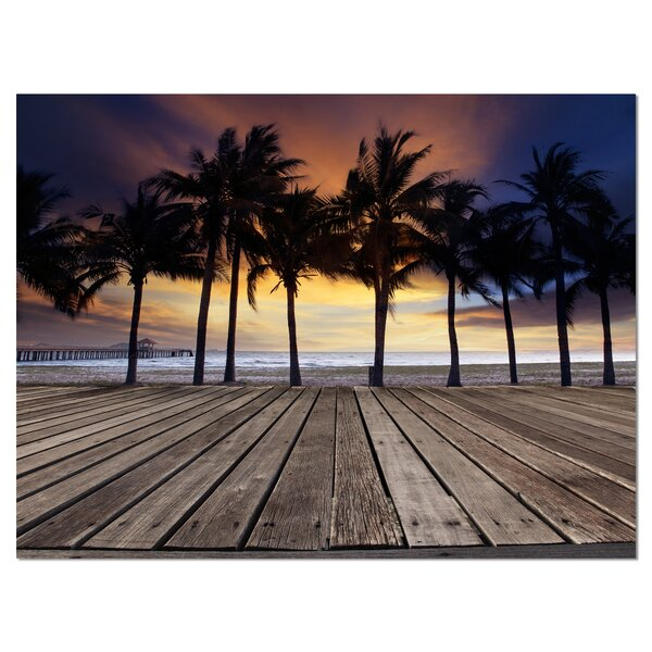 Old Wood Terrace on Sea Beach Modern Landscape Photographic Print on Wrapped Canvas by Design Art