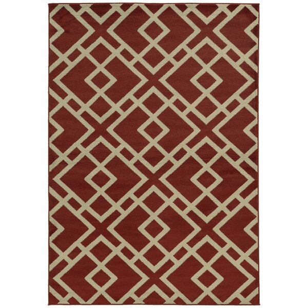 Halloran Red/Light Grey Area Rug by Wrought Studio