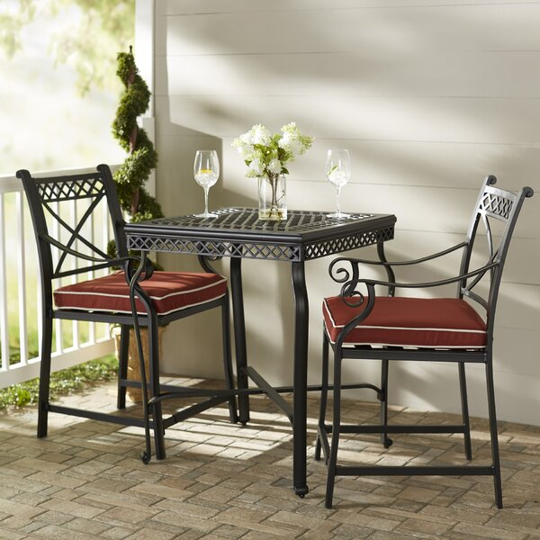 Nadine 3 Piece Bistro Set with Cushions by Fleur De Lis Living