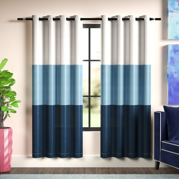 Rodney Striped Room Darkening Grommet Curtain Panels (Set of 2) by Langley Street