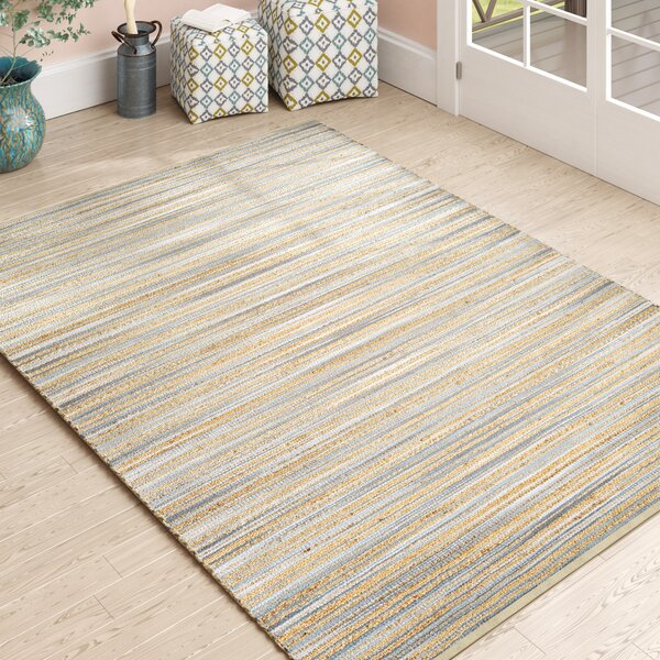 Yvaine Hand-Loomed Straw/Gray Area Rug by Highland Dunes