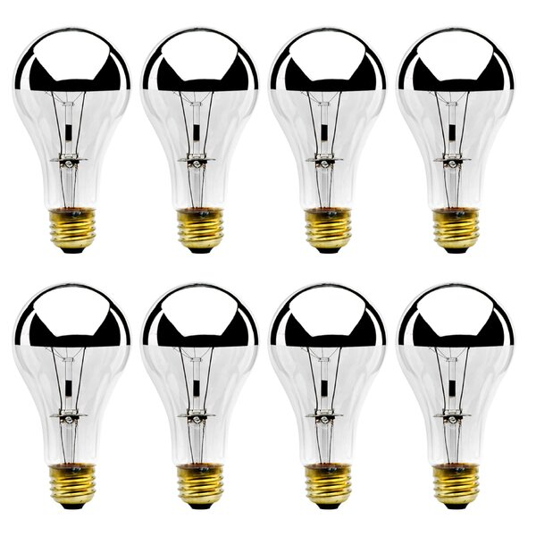 100W E26 Dimmable Incandescent Light Bulb Half Chrome (Set of 8) by Bulbrite Industries