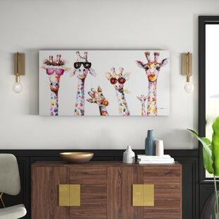 Leinwandbild Curious Giraffes Family