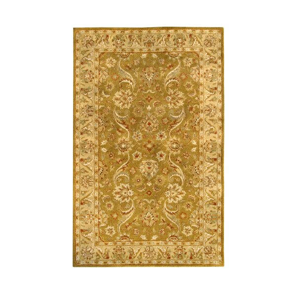 Harmony Gold Floral Area Rug by Noble House