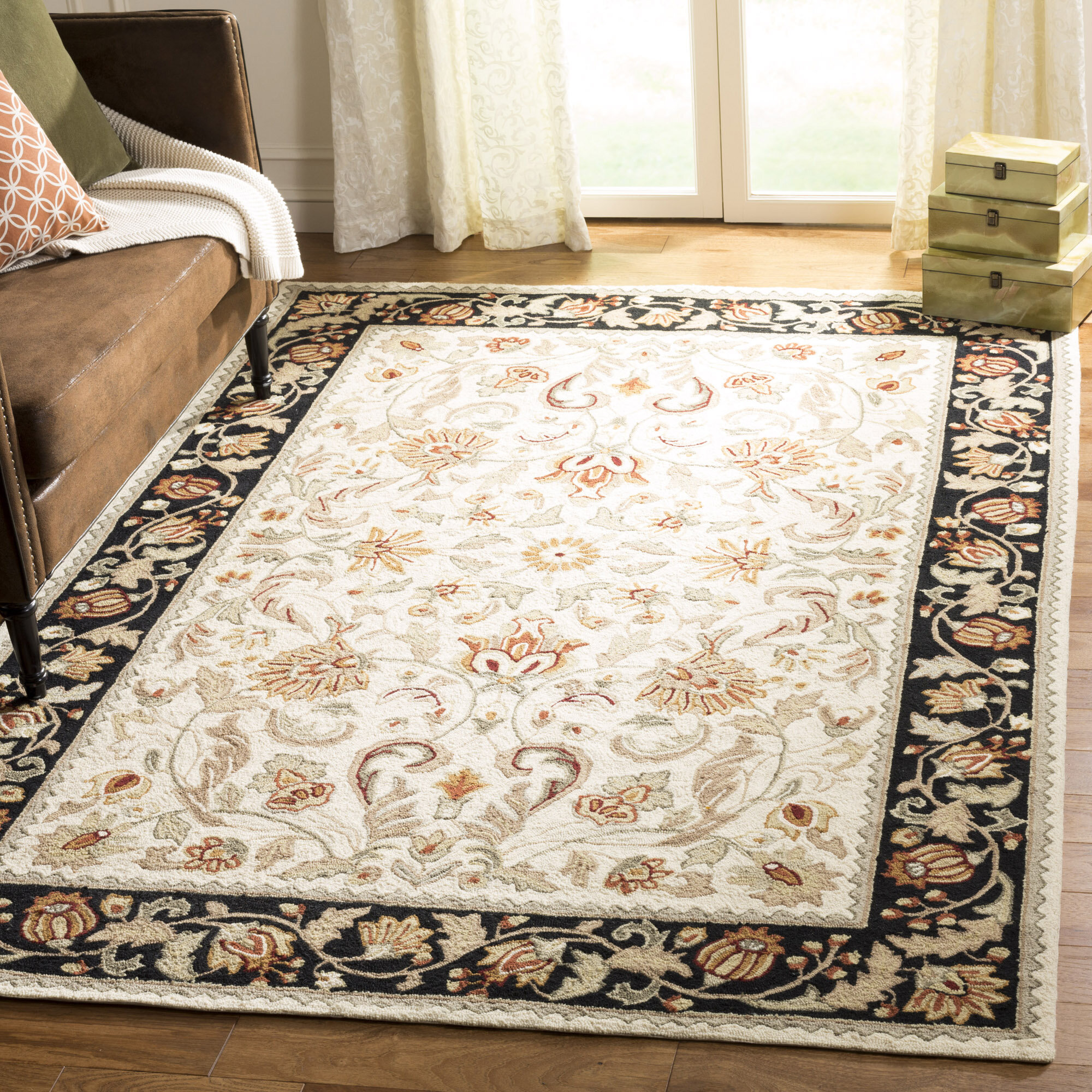 Darby Home Co Kapur Hand-Hooked Ivory/Navy Area Rug | Wayfair