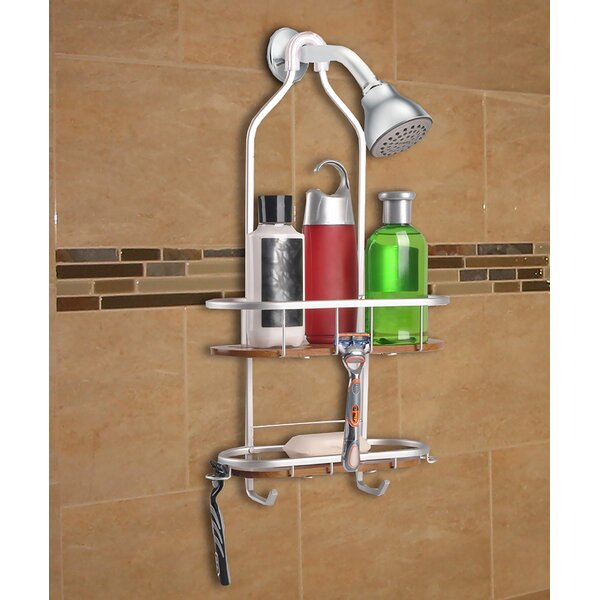 Teak 2 Shelf Rustproof Shower Caddy by Utopia Alley