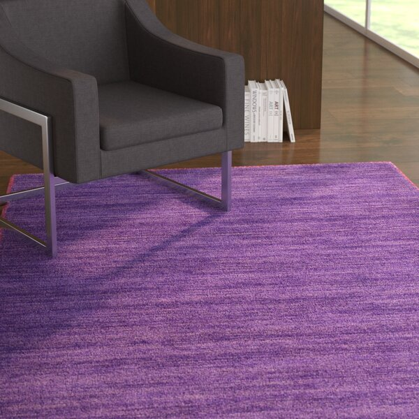 Taul Hand-Knotted Wool Purple Area Rug by Latitude Run