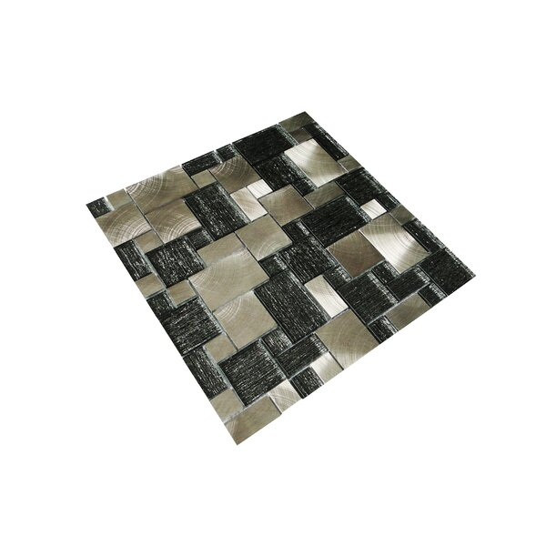 Twilight Series Random Sized Glass and Aluminum Mosaic Tile in Glossy Silver and Gray by WS Tiles