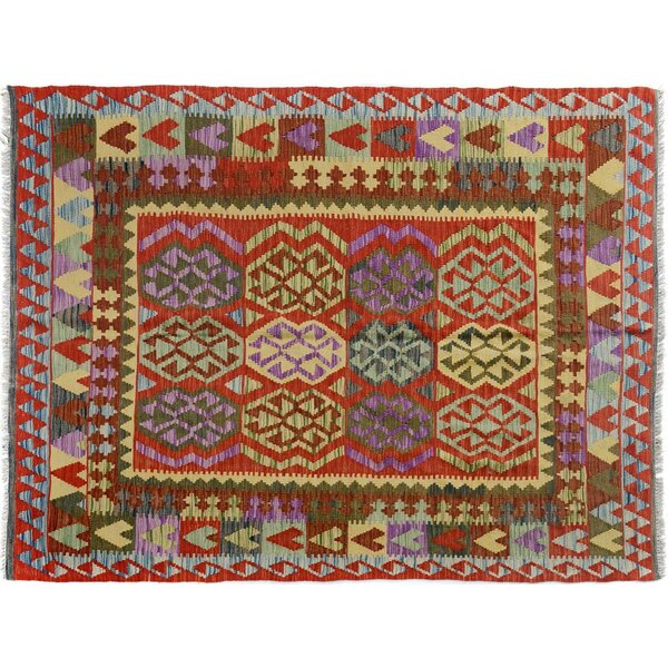Sinclair Hand-Woven Wool Blue/Red Area Rug by Isabelline
