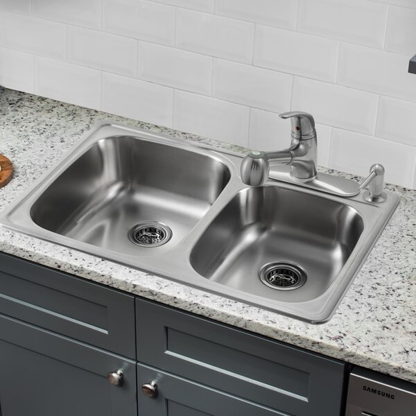 33.13 L x 22 W Double Bowl Drop-In Kitchen Sink with Faucet by Soleil