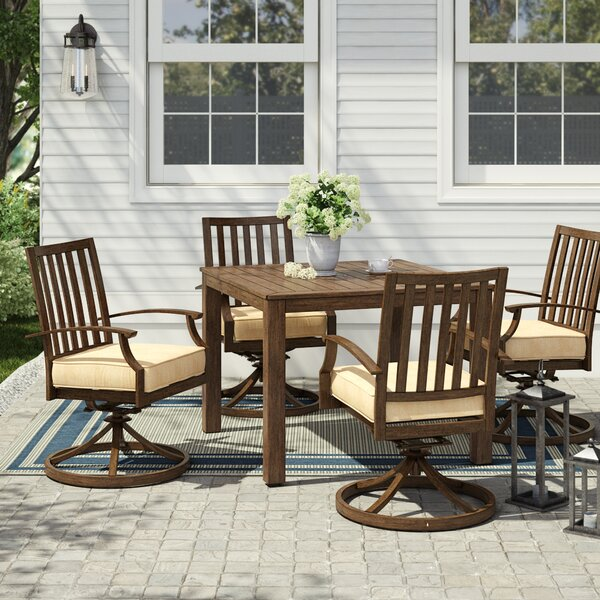 Yandel Bridgeport 5 Piece Dining Set with Cushions by Darby Home Co Darby Home Co