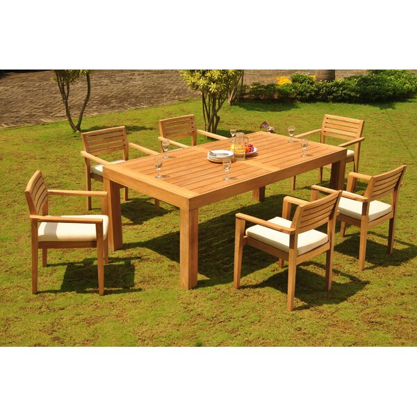 Marne 7 Piece Teak Dining Set by Rosecliff Heights