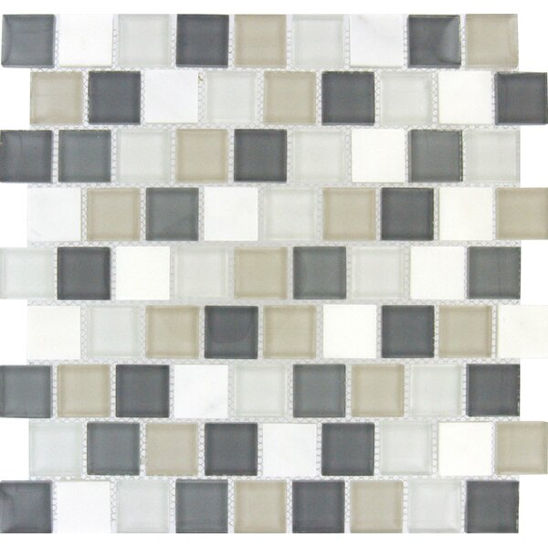 Glacier Peak 1.25 x 1.25 Glass/Stone Mosaic Tile in Gray and White by MSI