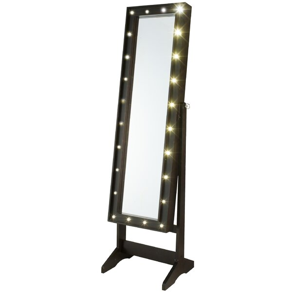 Everly Quinn Lorna Free Standing Jewelry Armoire with Mirror ...